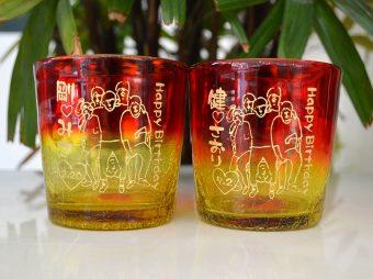 琉球グラス彫刻 イラスト入り