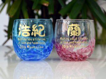 結婚祝い 陽桜・空波ペアグラス彫刻