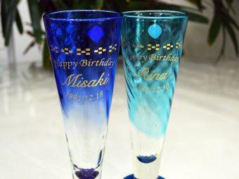 お誕生日祝い スタイルビアグラス彫刻