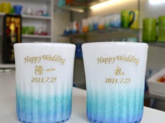 グラス彫刻 結婚祝い
